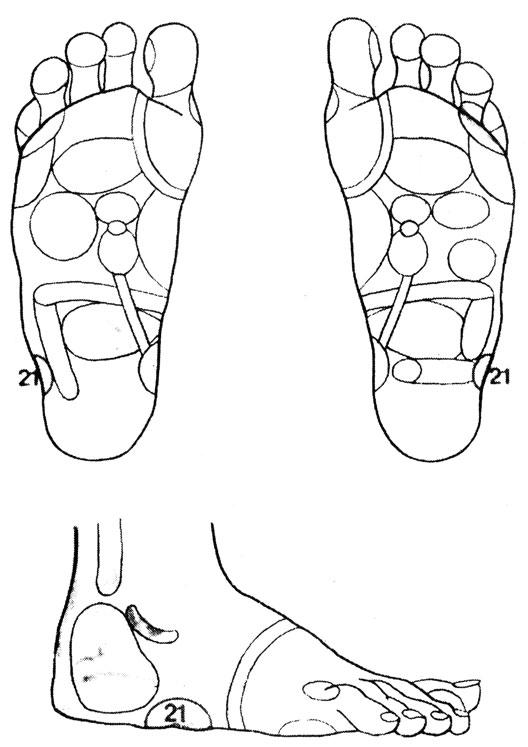 Рефлекторные зоны на стопе: массировать следует зоны, соответствующие больным суставам (например, для колена - зону 21)