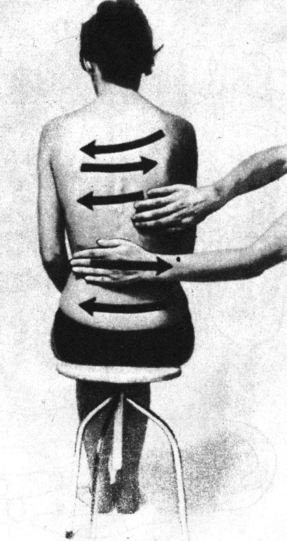 Поглаживающий массаж спины по всей ее поверхности